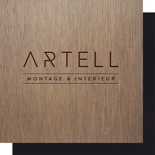 Artell logo op hout