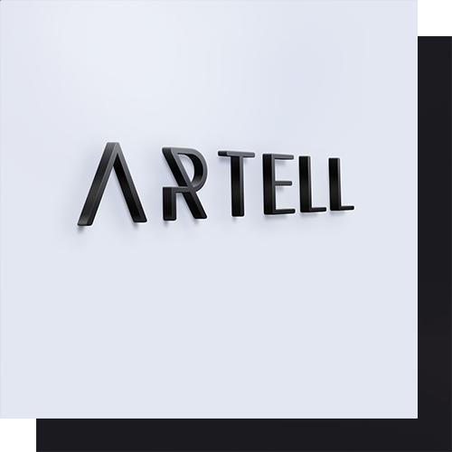 Artell logo op muur